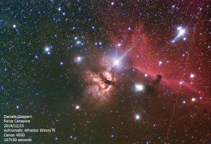 Al limite delle potenzialità della montatura EQ2 Astrofoto: la nebulosa Testa di Cavallo ripresa con un rifrattore acromatico 80 mm F400 mm. 167 pose da 30 secondi.