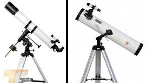 Tipici telescopi per giovani astrofili: a sinistra un versatile rifrattore da 80 mm su montatura equatoriale, a destra un più economico riflettore Newton su montatura altazimutale