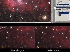 """Combiniamo i livelli con il metodo """"Schiarisci"""" e uniamoli: le stelle ora sono molto più rotonde di prima!"""