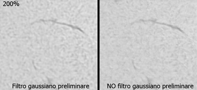 Effetto di un filtro gaussiano su un'immagine solare ottenuta con una camera a colori ed estratta dal canale verde. In questo modo si ridimensiona moltissimo l'effetto della griglia di filtri posta sopra il sensore.