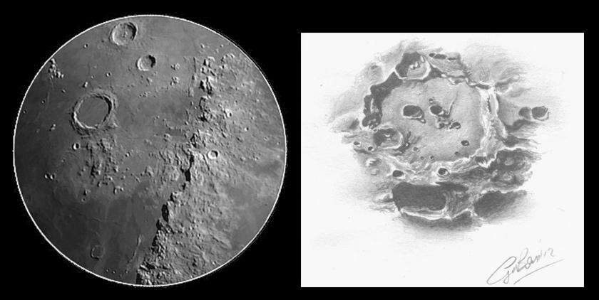 A sinistra: tipico panorama lunare visibile già con strumenti da 80 mm di diametro a 100-150 ingrandimenti. A destra, lo stato dell'arte dell'osservazione lunare, grazie alla maestria di Giorgio Bonacorsi e un piccolo rifrattore da 80 mm di diametro. Riuscite a comprendere quanto conta l'esperienza?