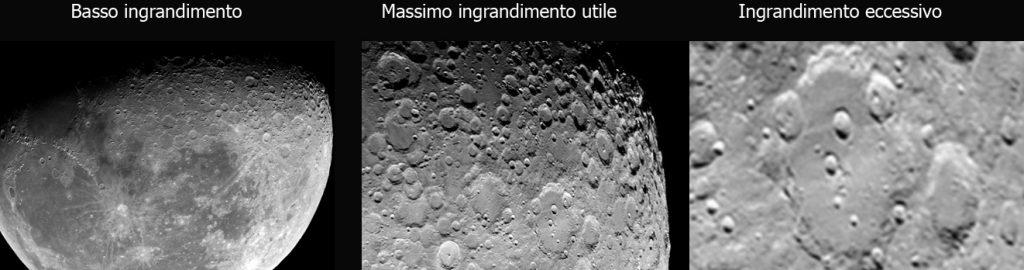 Ingrandire molto serve solo per Luna, pianeti e stelle doppie, ma occhio a non esagerare altrimenti si avrà l'effetto simile a quello della precedente fotografia.