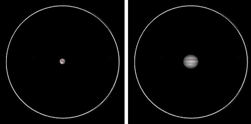 Marte, a sinistra, e Giove, a destra, visti attraverso uno strumento da 100 mm di diametro a circa 200 ingrandimenti. Con il progredire dell'esperienza si vedranno molti più dettagli di queste due, pessimistiche, simulazioni.