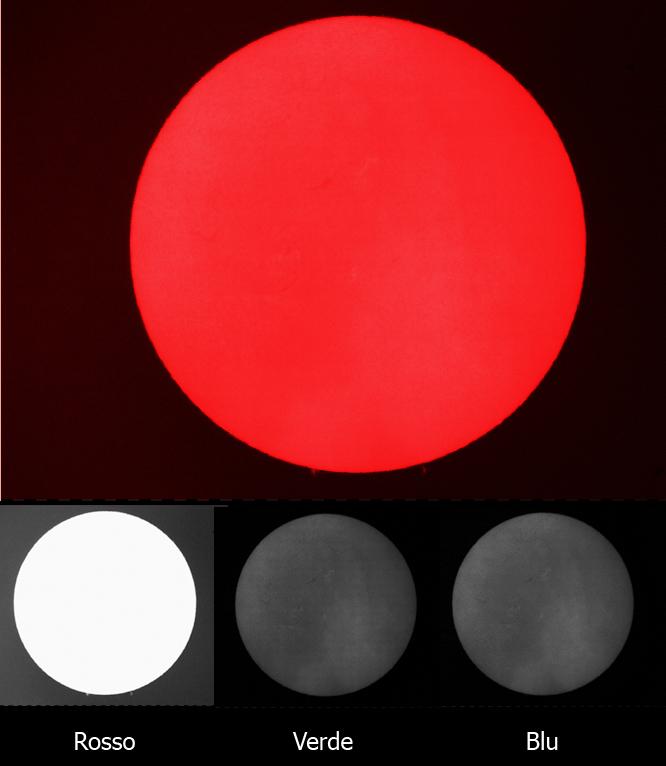 Tipica fotografia solare scattata con una camera a colori (scatto singolo di un video). Dove sono finiti i dettagli del disco? E le protuberanze perché sono così deboli? E' tutta una questione di corretta esposizione…