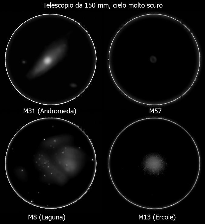 Qualche oggetto del profondo cielo osservato con un telescopio da 150 mm di diametro sotto un cielo scuro.