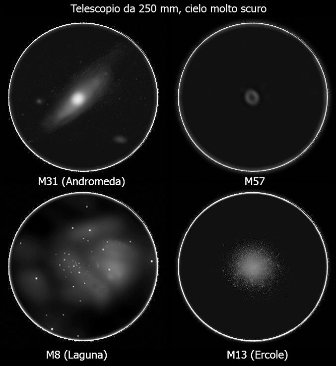 Qualche oggetto del profondo cielo osservato con un telescopio da 250 mm di diametro sotto un cielo scuro.