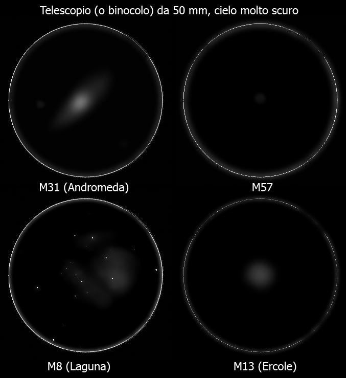 Qualche oggetto del profondo cielo osservato con un telescopio da 50 mm di diametro (o un binocolo) sotto un cielo scuro.