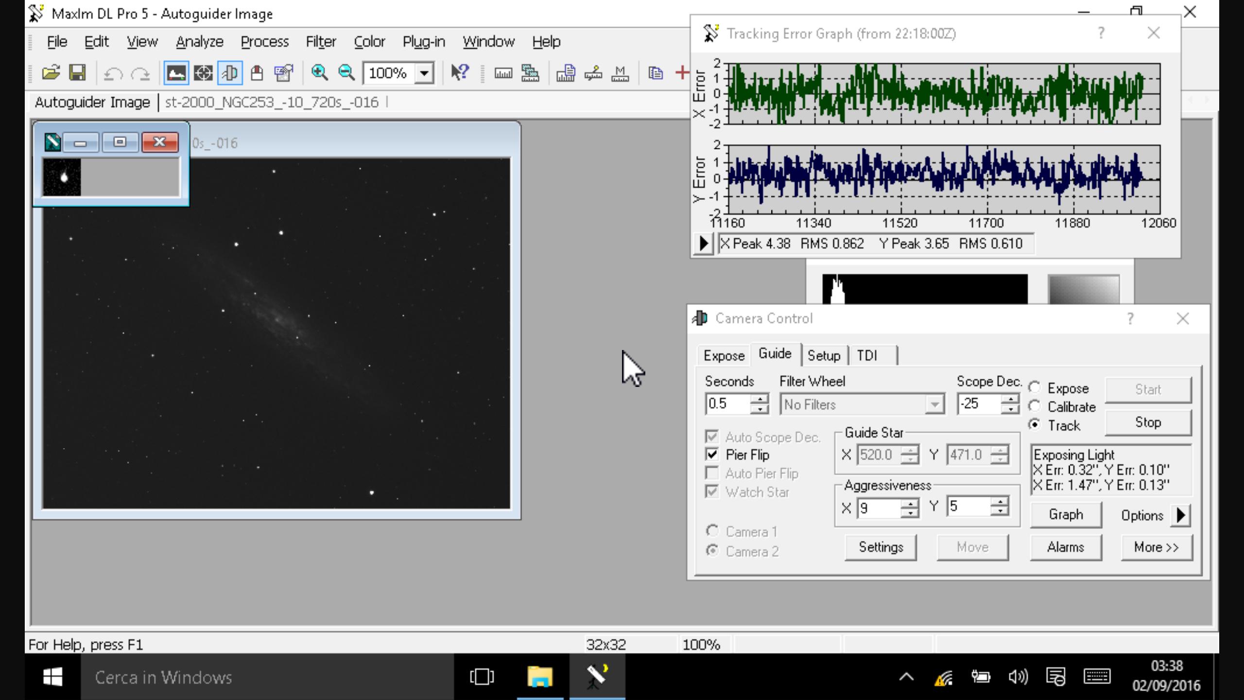 Uno screenshot direttamente dal Winpad W700 di MaxIm DL durante l'acquisizione e la guida sul finire di una serata di fotografica.