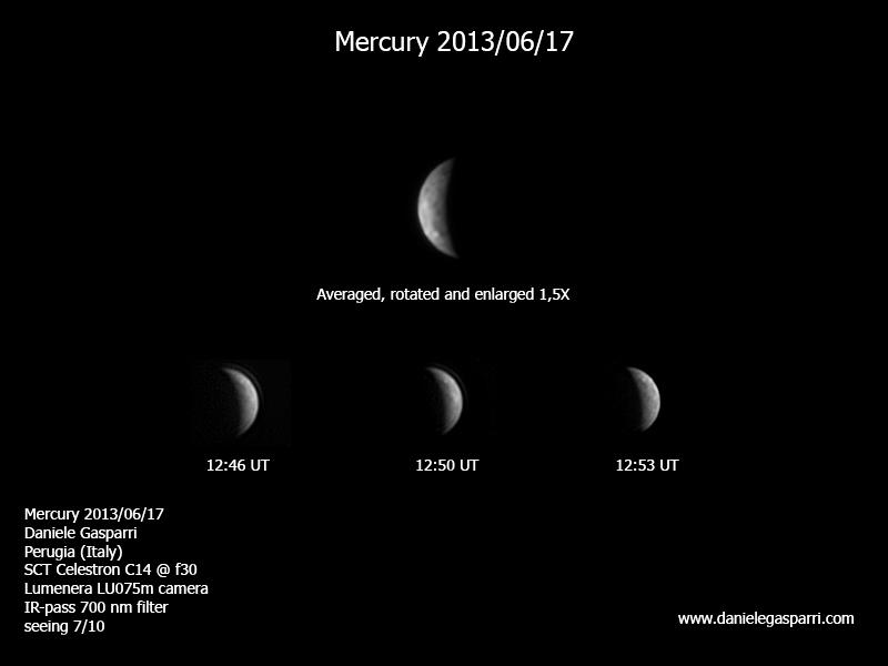 Mercurio di giorno mostra tenui chiaroscuri che non vedremo mai al crepuscolo