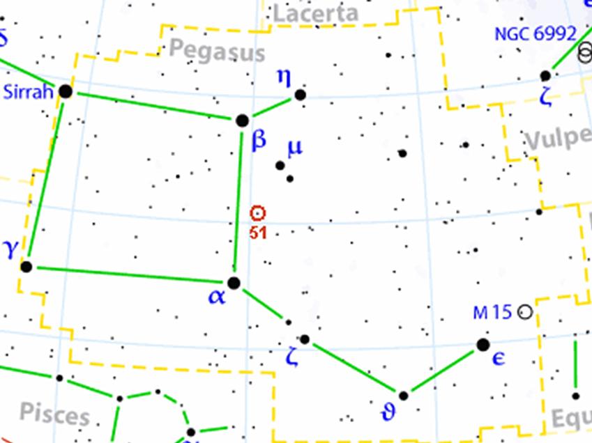 51 Pegasi b è un gigante gassoso molto caldo ed è il primo pianeta a essere stato scoperto attorno a una stella simile al Sole. Da lì è iniziato tutto: il nostro tour delle stelle con pianeti non può che iniziare da qui.
