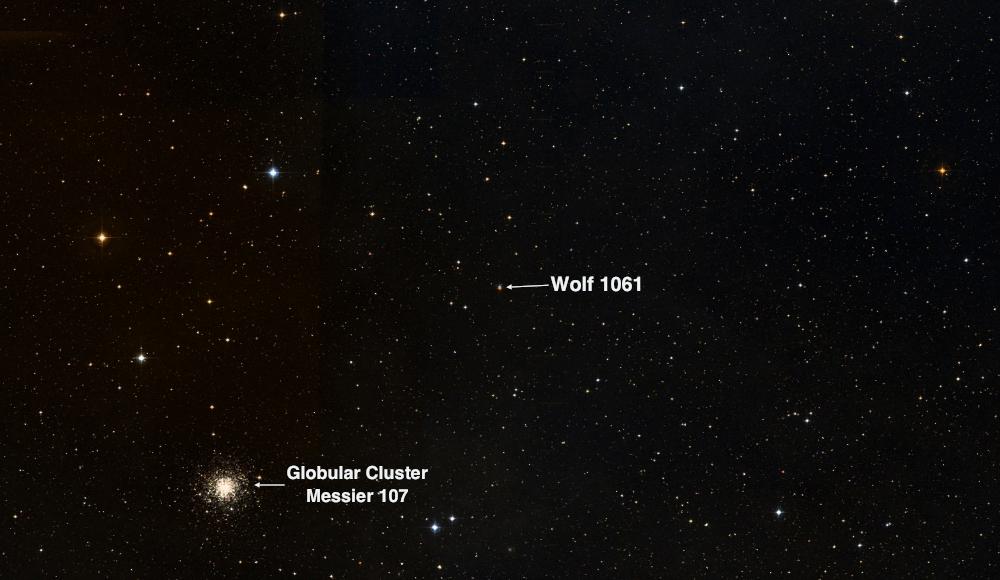 Wolf 1061: una stellina rossa di magnitudine 10 vicino all'ammasso globulare M107 che merita una visita per scoprire, e immaginare, un sistema planetario formato da tre pianeti, di cui uno potrebbe essere abitabile.