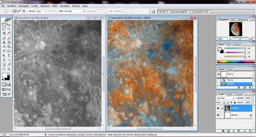 Le due versioni a confronto. A sinistra ci siamo concentrati solo sulla luminanza e sui dettagli. A destra solo sul colore. Ora dobbiamo unire al meglio le due informazioni.